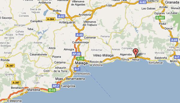 Kaart Costa Del Sol Van Estepona Tot Nerja Met Als Middelpunt Malaga